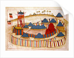 Ms. cicogna 1971, miniature from the 'Memorie Turchesche' depicting a Turkish camp with look-out tower by Venetian School