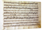Manuscript page from the score of Opus V, 'Sonata for violin, violone, and harpsichord' by Arcangelo Corelli