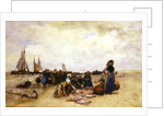 Fish Sale on the Beach by Bernardus Johannes Blommers or Bloomers
