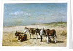Donkeys on the Beach by Johannes Hubertus Leonardus de Haas