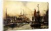 The Thames at Tower Bridge by Charles Edward Dixon