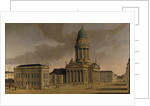 The Gendarmenmarkt with the French Playhouse and Cathedral, Berlin by Karl Friedrich Fechhelm