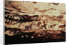 Rock painting of a leaping cow and a frieze of small horses by Prehistoric