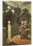 Edward Kelly a magician, and his partner the mathematician and astrologer, John Dee raising a ghost by English School