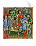 Seated crowned figure surrounded by musicians playing the lute, bagpipes, triangle, horn, viola and drums by Czech School