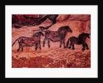 Rock painting of tarpans (ponies) by Prehistoric