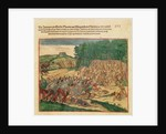 Battle between the Indians and the Spanish in which the Spanish colonel was beaten to death by Theodore de Bry