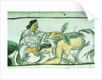 Aztec midwife administering herbs to a woman after childbirth by Spanish School