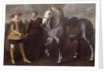Portrait of a Gentleman with His Horse and Groom by Adriaen I van Nieulandt