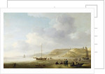 The Coast Near Scheveningen with Fishing Pinks on the Shore by Charles Brooking