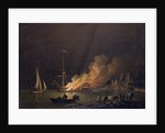 Ship on Fire at Night by Charles Brooking
