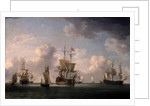 English Ships Under Sail in a Very Light Breeze by Charles Brooking