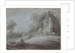 Churchyard with Figure Contemplating Tombstone by Thomas Gainsborough