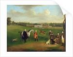 Leak Okeover, Rev. John Allen and Captain Chester at Okeover Hall, Staffordshire by Arthur Devis