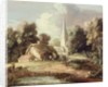 Landscape with a Church, Cottage, Villagers and Animals by Thomas Gainsborough
