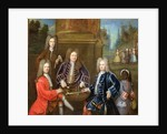 Elihu Yale the second Duke of Devonshire, Lord James Cavendish, Mr Tunstal and a Page by English School
