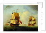 An English Sloop and a Frigate in a Light Breeze by Francis Swaine