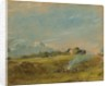 A View of Hampstead Heath, with figures round a bonfire by John Constable
