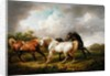 Three Horses in a Stormy Landscape by Charles Towne