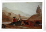 Mountainous Landscape with Figure by a Lake by English School