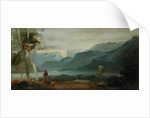 Mountainous Landscape with Figures and Cattle, previously attributed to J.M.W. Turner and also attributed to Peter de Wint, 1806-07 by English School