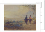 Landscape with Lake and two Figures Riding by English School