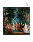 Scene in a Park, with figures from the Commedia dell'Arte by Marcellus the Younger Laroon