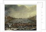 The Frost Fair of the winter of 1683-4 on the Thames, with Old London Bridge in the Distance. by English School