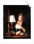 Woman Reading by a Paper-bell Shade by Henry Robert Morland