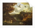 Ducks and other birds about a stream in an Italianate landscape by Francis Barlow