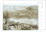 Study for 'Blue Lights' Tynemouth Pier - Lighting the Lamps at Sundown by Alfred William Hunt
