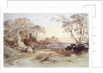 Landscape with Figures and Distant Castle by John Varley