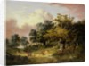Wooded Landscape with Woman and Child Walking Down a Road by Robert Ladbrooke