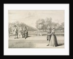 Figures on the bank of the Long Water, Hampton Court Palace by Bernard III Lens