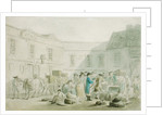 The Customs House at Boulogne - verso: Graphite Sketch of Horses, Carriages and Buildings by Thomas Rowlandson