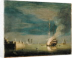 A Two-Decker on Fire at Night off a Fort by Charles Brooking
