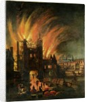 The Great Fire of London with Ludgate and Old St Paul's by English School