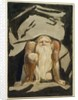 A naked man with a long beard kneeling with one knee raised and both hands on the ground by William Blake