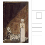 A boy in a long dress, standing with clasped hands next to a dog by William Blake