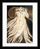 A white haired man in a long, pale robe who flees from us with his hands raised by William Blake