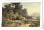 Hilly landscape with River and Cattle by John Glover
