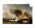 An Action off the Barbary Coast with Galleys and English Ships by Willem van de