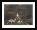 Freeman, Keeper to the Earl of Clarendon, with a hound and a wounded doe by George Stubbs