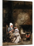 A Woman and Child by a Hearth by William Evans