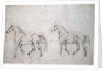 Two horses walking left by Sawrey Gilpin