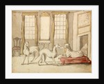 Three Greyhounds in a room by Pieter Casteels