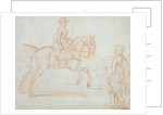 A lady riding side-saddle turns to look at a dismounted rider by James Seymour