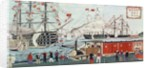 Commodore Perry's Gift of a Railway to the Japanese in 1853 by Ando or Utagawa Hiroshige