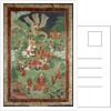 Buddha cutting a tuft of hair, Tibetan temple banner by Tibetan School