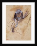 Jockey flexed forward standing in the saddle by Edgar Degas